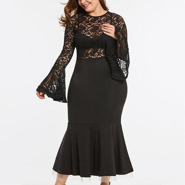 Plus-Size Sexy Pure Color Elegant Long-Sleeved Lace Dress
