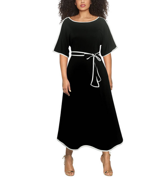 Plus-size fashion patchwork flared sleeve round collar dress