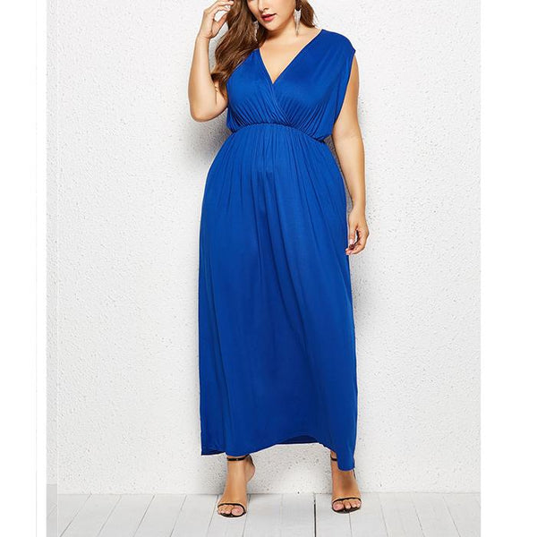 Plus-Size Sexy V-Neck Solid Color Dress