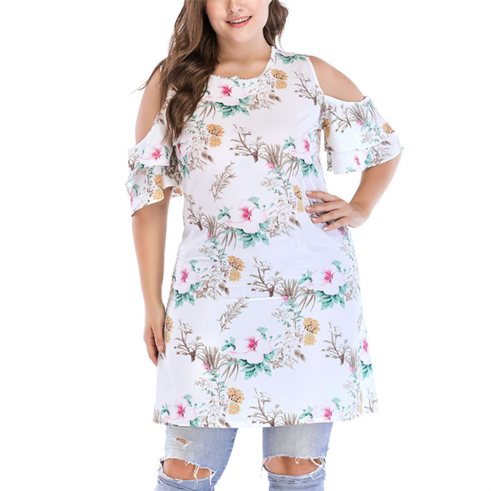 Plus-Size Fashionable Sexy Printing Off The Shoulder Dress