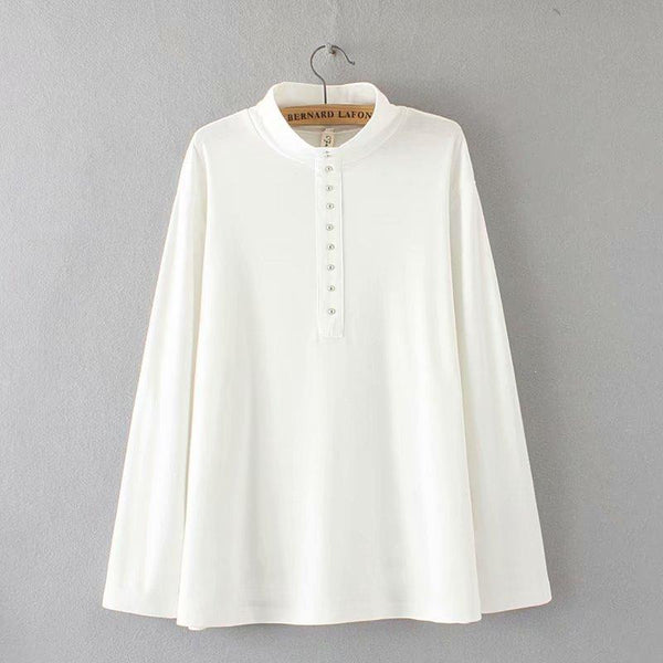 Pure color wool down fashion pearl buttoned long sleeve knitted shirt