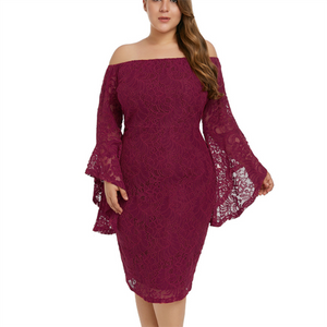 Plus-size sexy one word collar off-shoulder flared sleeve dress