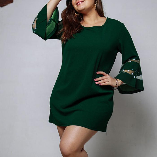 Plus-size sexy round collar solid color mini dress