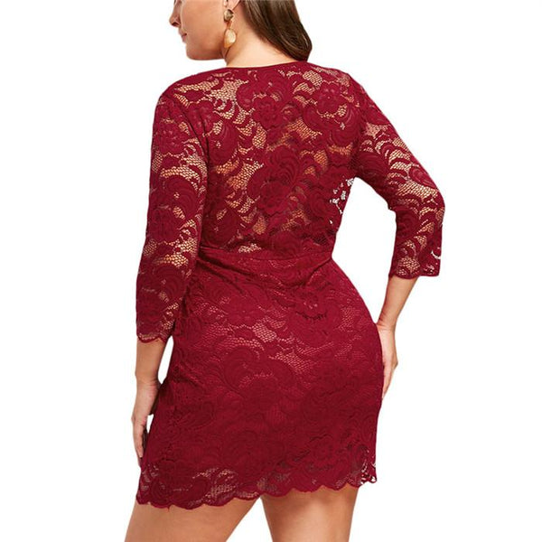 Plus-Size Pure Color Loose Lace Hollowed Out Circular Collar Mini Dress