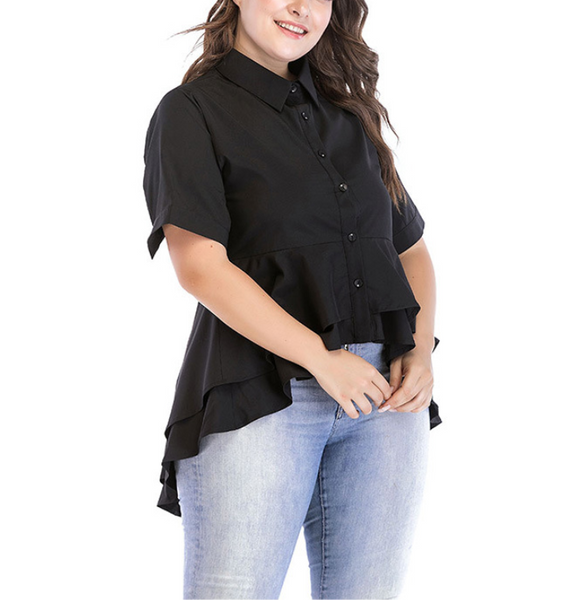 Plus-Size Fashion Irregular Solid Color Shirt