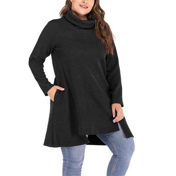 Plus-size stack collar solid color blouse
