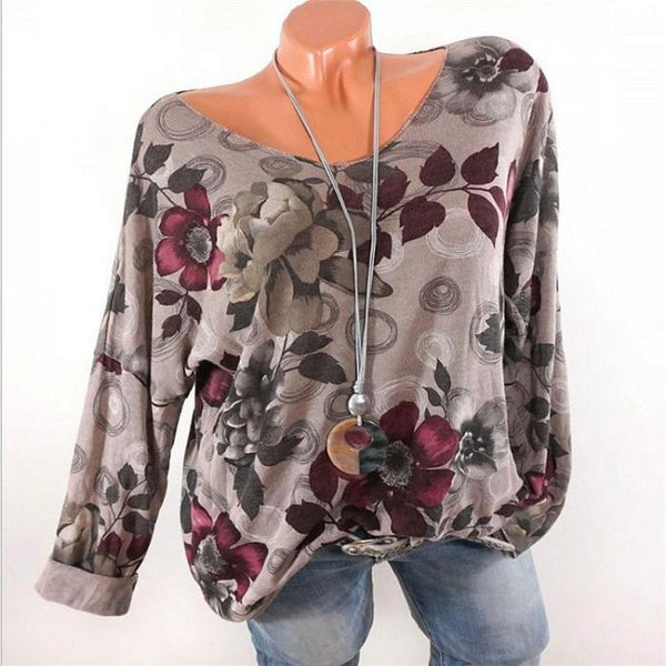 Casual Long Sleeve Printed Blouse