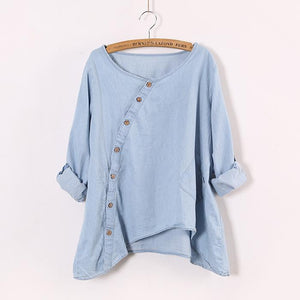 Pure color slanted placket irregular hem cowboy shirt