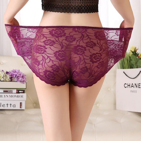 Large Size Sexy Transparent Lace Flower High Waist Triangle Briefs
