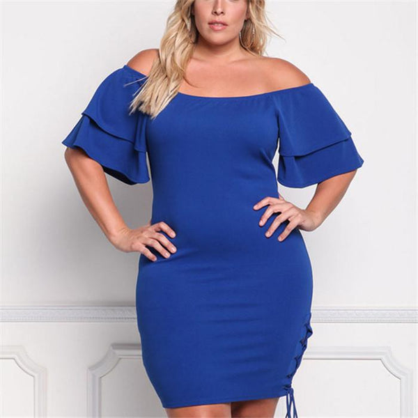 Plus-Size Pure Color Off-The-Shoulder Knitting Mini Dress