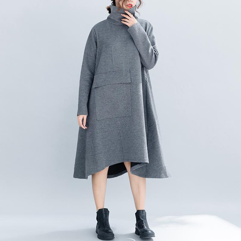 Fashion pure color retro high collar loose dress