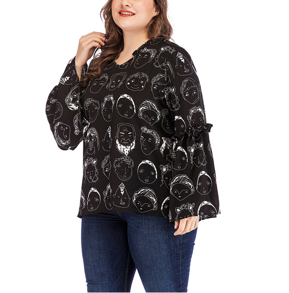 Plus-size fashionable printed long sleeves T-shirt