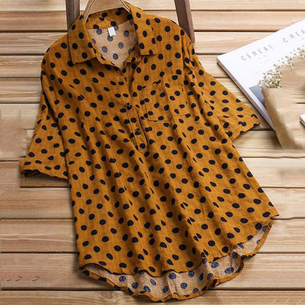 Cotton-Linen Dot Printed Stand Up Collar Shirt