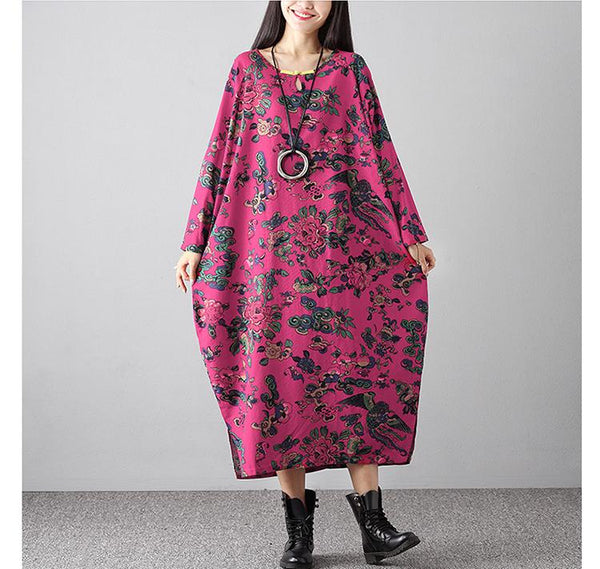 Retro Printed Loose Lage Size Cotton And Hemp Dresses