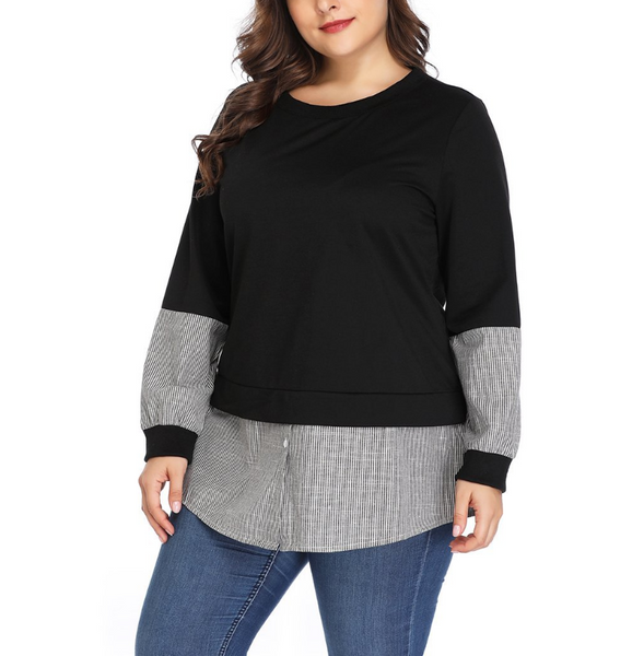 Plus-Size Round Collar Long Sleeve Splicing Colorblock T-Shirt