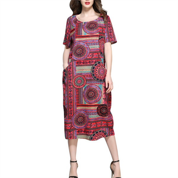 Plus-Size Bohemian Print Short Sleeves Dress Vintage