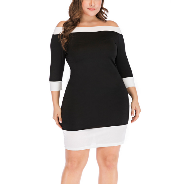 Plus-size one word shoulder black and white sexy mini dress
