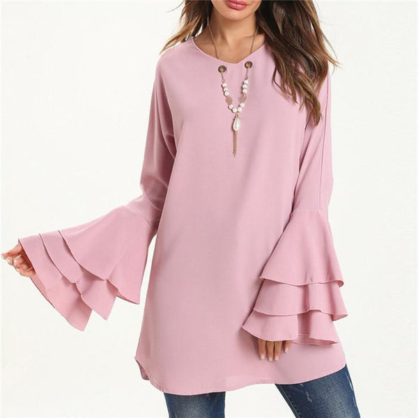 Fashionable Solid Color Flared Sleeve Shirt