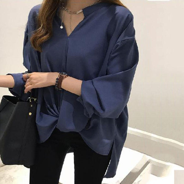 Simple Temperament Loose Chiffon Long Sleeve Bottoming Shirt