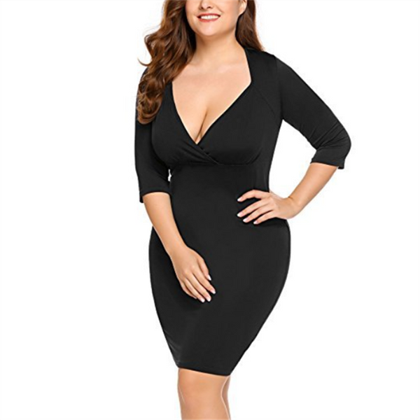 Plus-Size Fashionable Sexy Pure Color Deep V Dress