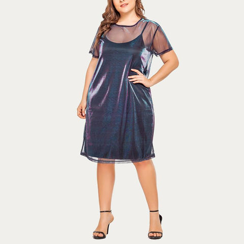 Temperament Large Size Sling Mesh Dress Two-Piece Set