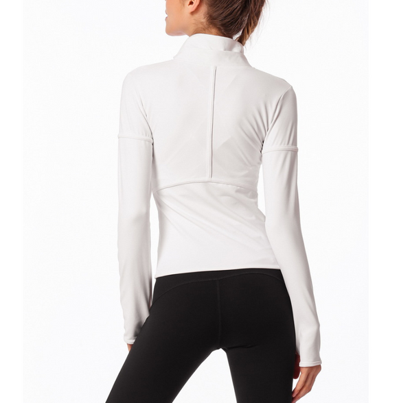 Zipper yoga fitness pure color long sleeve blouse