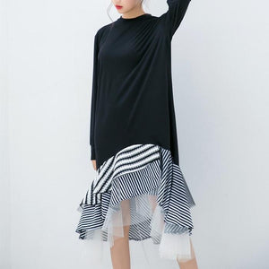 Loose head mesh gauze stripe stitching long sleeve dress