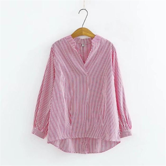 Large size V-neck striped Long Sleeve Shirt