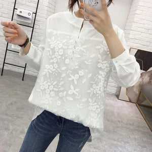 Lace Matching V-Neck Wide Shirt Slim Long-Sleeved Shirt