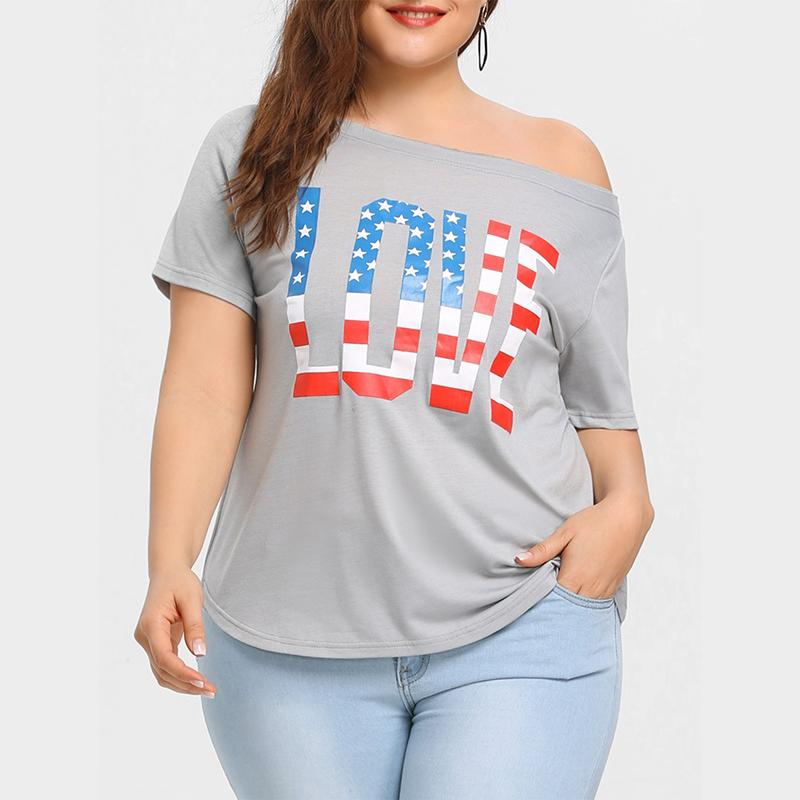 Plus-size sexy print one word neck short sleeve T-shirt