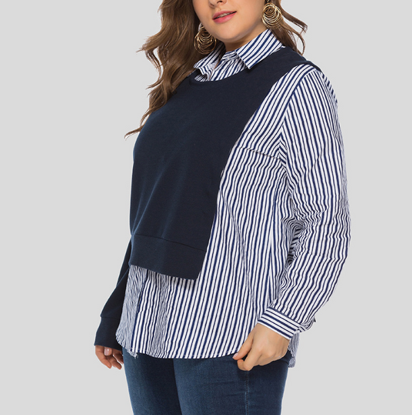 Plus-Size Fashion Fake Two Pieces Loose Splicing Shirt