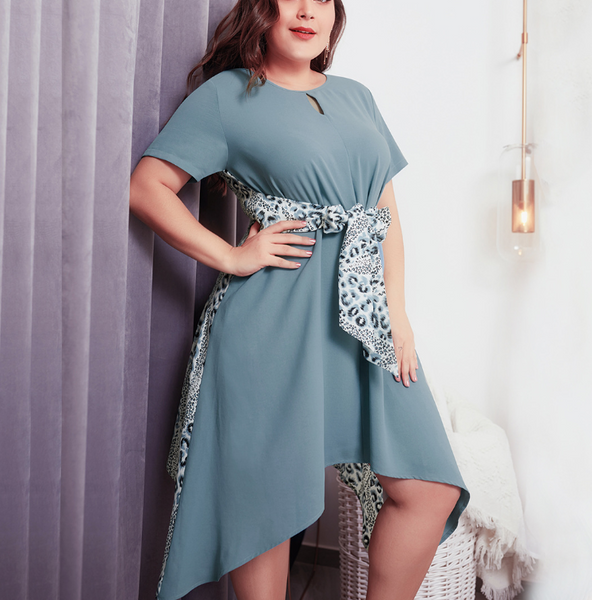 Plus-size leopard print frenulum irregular short sleeves dress