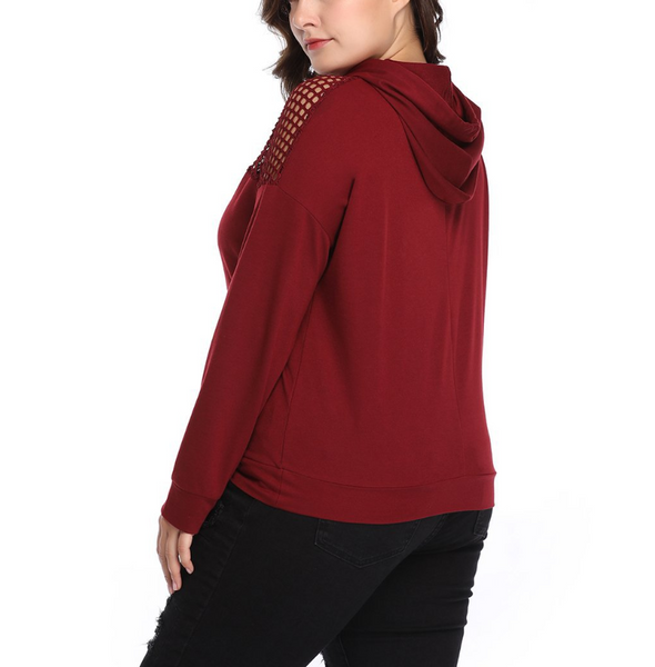Plus-Size Pure Color Hollow Out Long Sleeve Hoodie