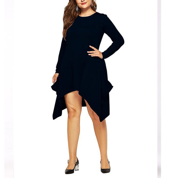 Plus-size irregular pure color round collar and long sleeves dress