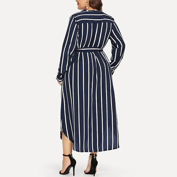 Plus-size fashion striped v-neck long sleeves dress