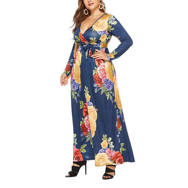 Plus-Size Sexy Print Loose V-Neck Long Sleeve Dress