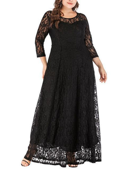 Plus-Size Sexy Pure Color Elegant Long-Sleeved Hollow Out Lace Dress