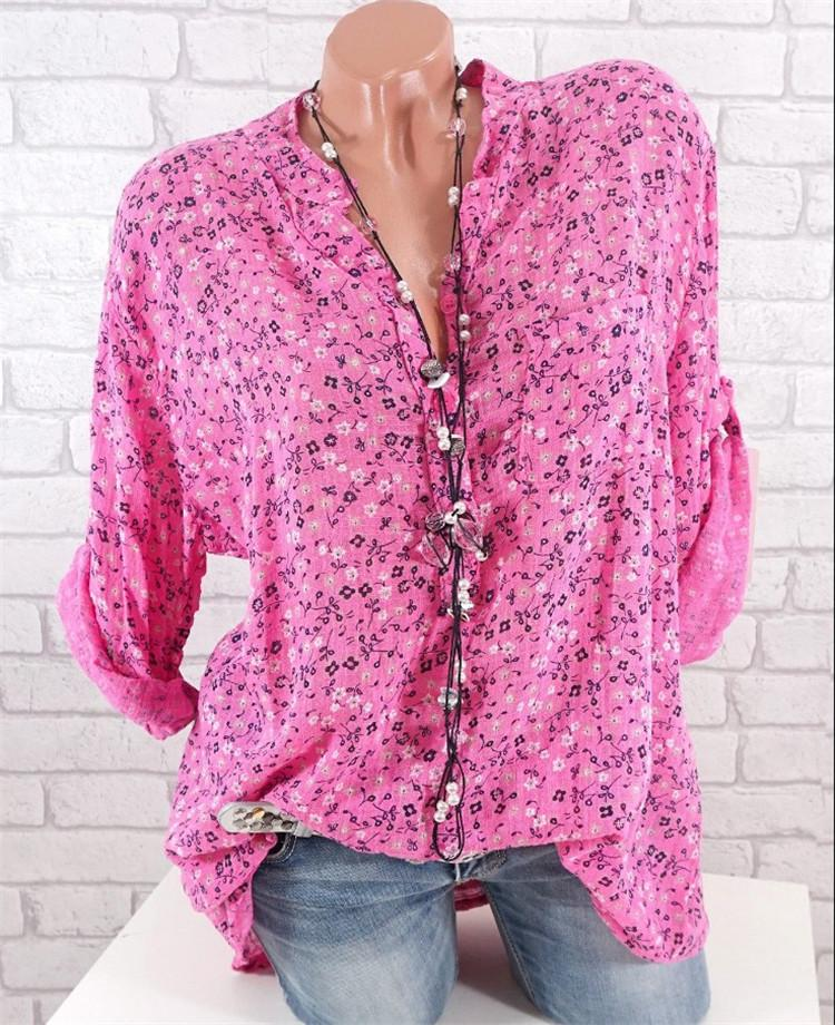 Women's Stand Collar Print Long Sleeve Shirt
