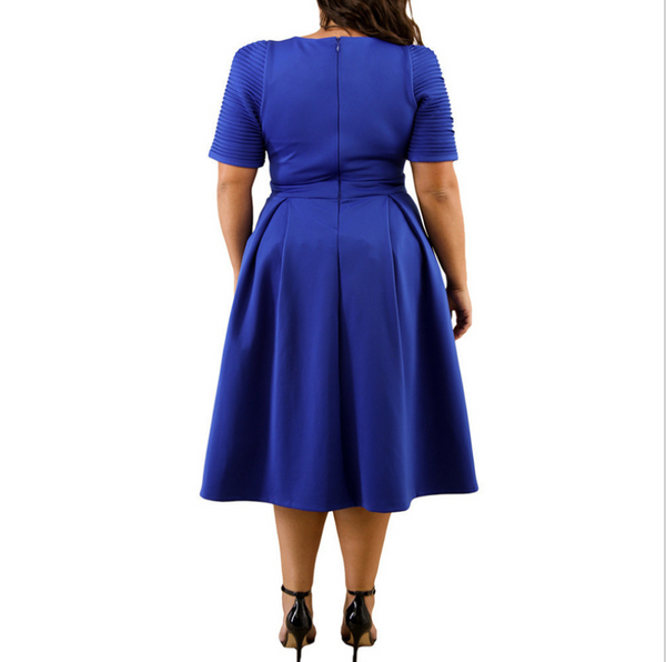Plus-Size Sexy Solid Color Round Collar Pleated Short Sleeve High Waist Dress
