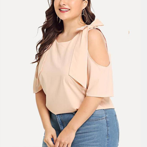 Plus-Size Fashionable Pure Color Off Shoulder Shirt