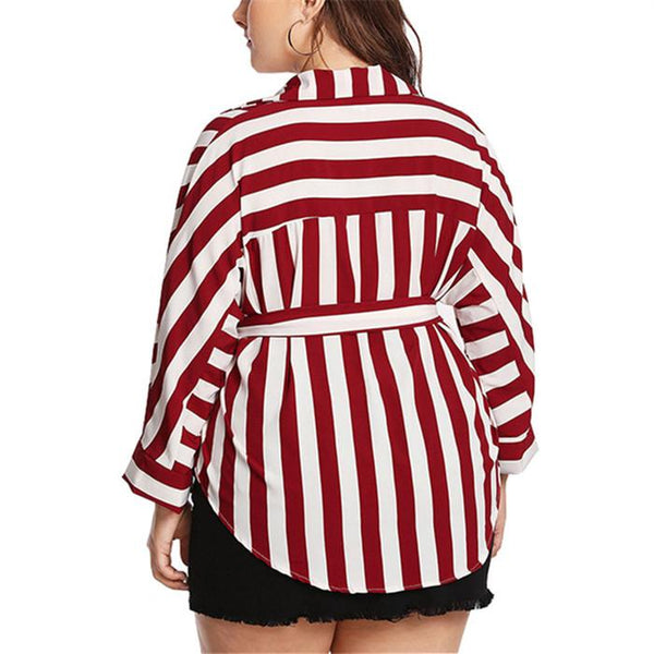 Plus-size striped long-sleeved shirt