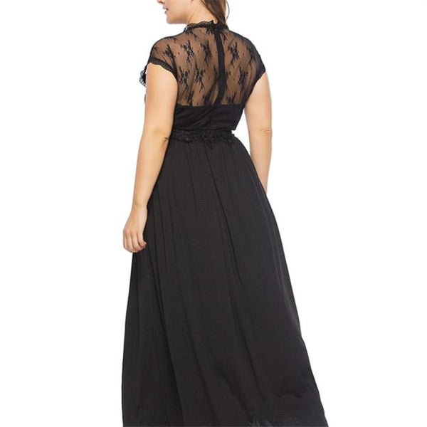 Plus-Size Fashion Sexy Lace Splicing Gauze Dress