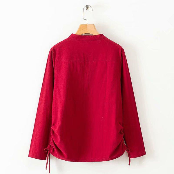 Plus-Size Fashion Pure Color Long-Sleeved Stand-Up Collar Shirt