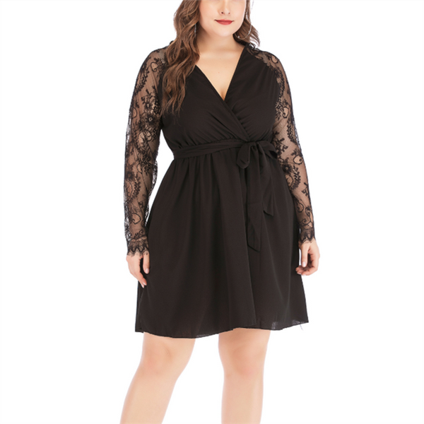 Plus-Size Pure Color Lace V-Neck Long Sleeves Dress