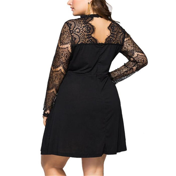 Plus-size sexy long sleeve lace splicing round neck dress