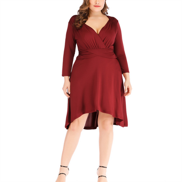 Plus-Size Sexy V-Neck Solid Color Three-Quarter Sleeve Dress