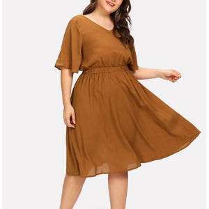 Plus-Size Fashion V-Neck Solid Color Mini Dress