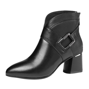 Zipper Solid Metal buckle Square Heel pointed toe ankle booties