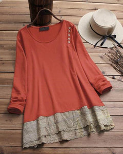Large Size Cotton And Linen Stitching Long-Sleeved Shirt T-Shirt