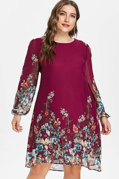 CHICWESTYLE Floral Print Tunic Tribal Plus Size Dress